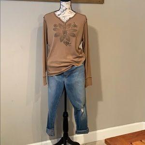 Shirt, Columbia, LS, brown, Cotton, Sz L